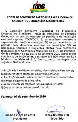 EDITAL CONVOCAÇÃO DE CONVENÇÃO PARTIDO MOVIMENTO DEMOCRÁTICO BRASILEIRO/MDB – FORMOSA/GOIÁS