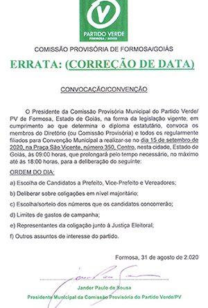 ERRATA – CONVOCAÇÃO CONVENÇÃO PARTIDO VERDE/ FORMOSA-GOIÁS