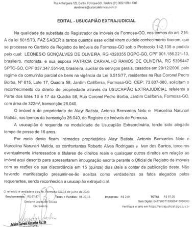 EDITAL USUCAPIÃO EXTRAJUDICIAL