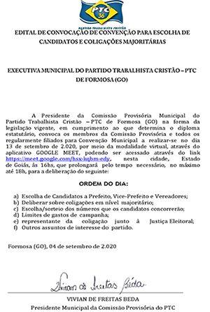 EDITAL CONVOCAÇÃO DE CONVENÇÃO PARTIDO TRABALHISTA CRISTÃO / PTC