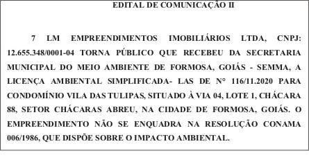 EDITAL DE COMUNICAÇÃO II