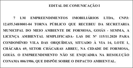 EDITAL DE COMUNICAÇÃO I